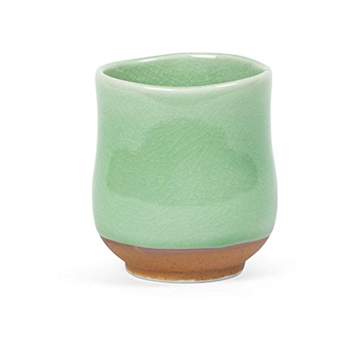 10 Ounce Green Crackle Glaze Japanese Tea Cup