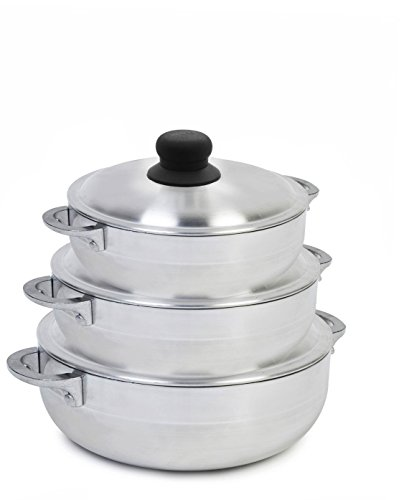 IMUSA USA GAU-89226 3 Piece Polish Aluminum Caldero Set, Silver (Dutch Oven Set)