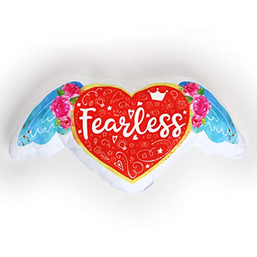 The BeLOVED Life by Mimi Tin Courage + Kindness Fearless Heart Wings Easter Gift Kids Tween Girls Cute Soft Stuffed Decor Plush Cushion Pillow