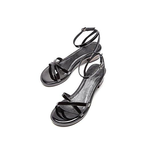 Tacones Altos negro Punta Tacón Sandalias Dhg Planas Dulces Ocasionales Moda Sólido 37 Mujer De Verano Zapatillas Color Bajo fq4wZ