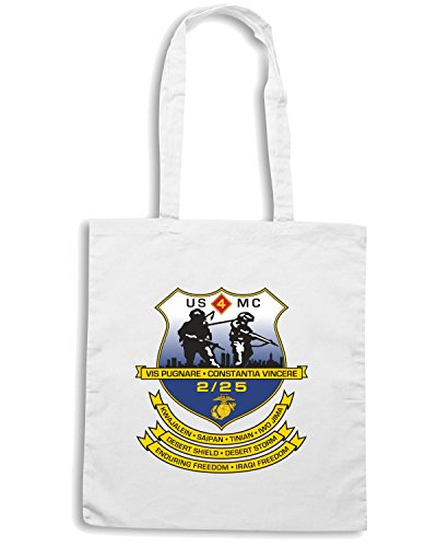 T-Shirtshock - Bolsa para la compra TM0328 2nd Battalion 25th Marine Regiment USMCR usa Blanco