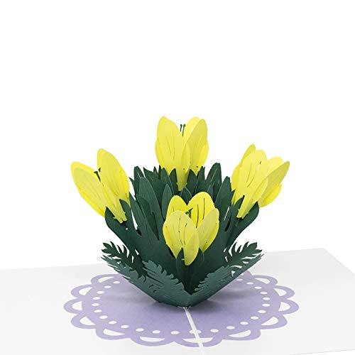 (Paper Love Pop Up Card, Yellow Lilies Card, 3D Popup Greeting Cards, For Mothers Day, Fathers Day, Valentine's Day, Wedding, Anniversary, Birthday, Any Occasion)