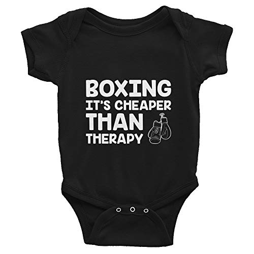 Quotablee Boxing It's Cheaper Than Therapy, Funny, Boxer, Gift, Training, Punching, Martial Arts, MMA, Infant Bodysuit Black