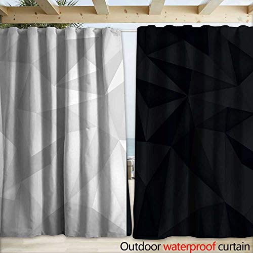 Waterproof Sliding Door Curtains Low polygon shapes black and white background light and dark crystals triangles mosaic creative origami wallpaper templates vector design Drapery W108