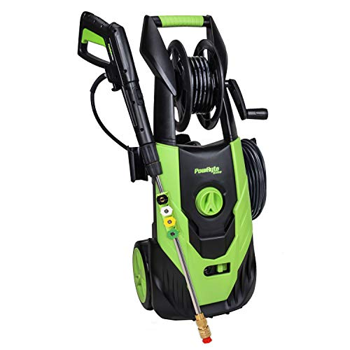 PowRyte Elite 2100 PSI 1.80 GPM Electric Pressure Washer, Electric Power Washer with Hose Reel, 5 Quick-Connect Spray Tips for Car, Vehicle, Patio, Driveway, Floor, Wall,Furniture