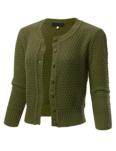 ARC Studio Womens Button Down 3/4 Sleeve Crewneck Cropped Knit Cardigan Crochet Sweater S Olive - Neck Cropped Cardigan