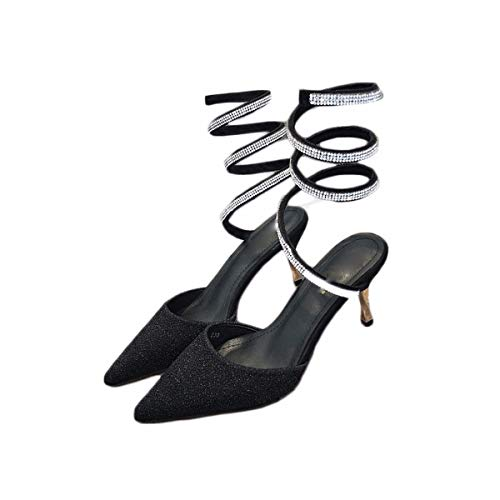 Shoes Pointed Heel Shoes Seven Thirty Tip 8Cm Shaped Fairies Female Snake Fashion Women'S KPHY Twisted Sandals Diamond Black Thin 5wAABq