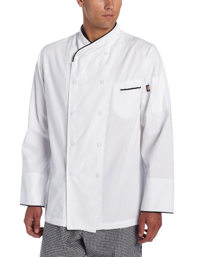 Dickies Men's White Egyptian Cotton Chef Coat, Large