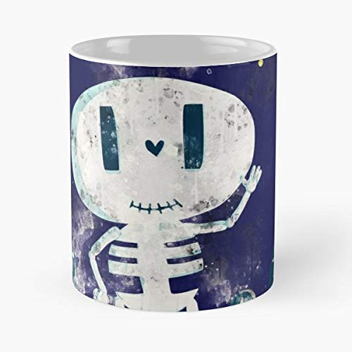 Cute Bone Halloween Happy - White -coffee Mug- Unique Birthday Gift-the Best Gift For Holidays- 11 Oz.