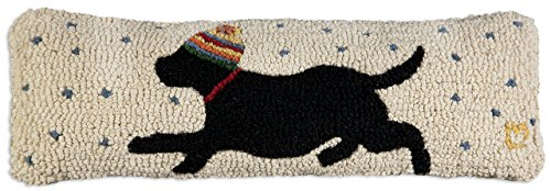 Chandler 4 Corners Star Chaser Black Lab 8 x24 Hooked Pillow