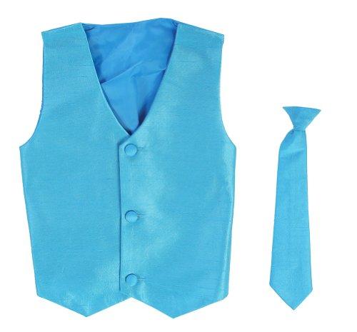 Vest and Clip On Boy Necktie set - AQUA - 6/7 ()