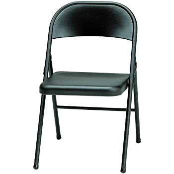 Amazon Com Meco 4 Pack All Steel Folding Chair Black