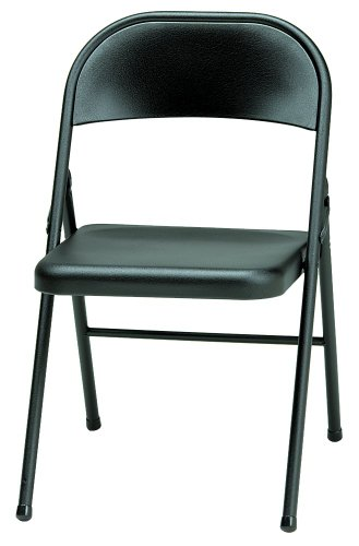MECO 4-Pack All Steel Folding Chair, Black Lace Frame