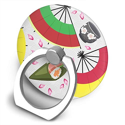 (Sushi Cup Sake and Fans Phone Finger Ring Stand,Multi-Function 360°,Rotating Ring Bracket Compatible iPhone 5 6 7 8 X Plus Samsung Galaxy Ipad)
