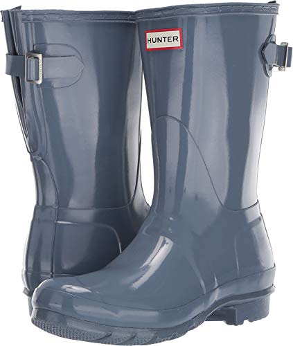 (Hunter Women's Original Back Adjustable Short Gloss Rain Boots Gull Grey 5 M US )