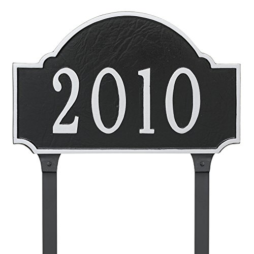"""Montague Metal 9.75"""" x 15.5"""" Fitzgerald One Line Address Sign Plaque with Lawn Stakes, Standard, Black/Silver"""