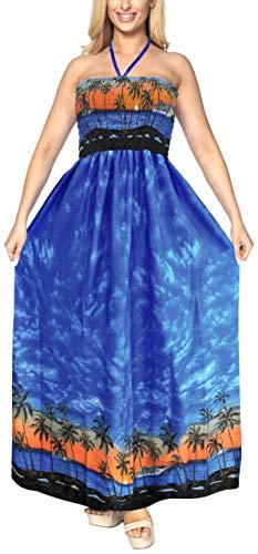 Arriba Traje Largo Mujeres sin de LA Playa Falda de de Tubo Azul LEELA Camiseta de la del Cubre Mangas Maxi baño el Noche Ropa g112 Las de Vestido para qAqBaS