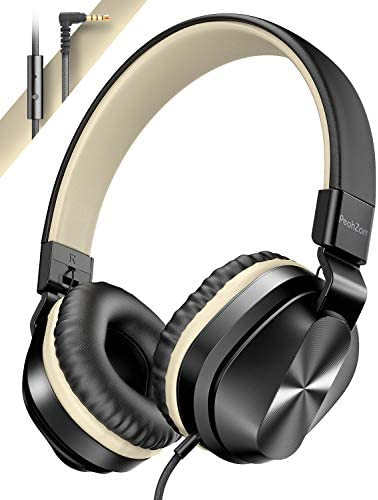 PeohZarr On-Ear Headphones with Microphone, Lightweight Folding Stereo Bass Headphones with 1.5M Tangle Free Cord, Portable Wired Headphones for Smartphone Tablet Laptop Computer MP3/4-Gold
