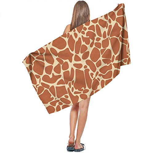 JGJGBFVXCV Giraffe Fur Animal Skin theam White Bath Towels Beach Turkish Cotton Quick Dry Best Absorbent,Multipurpose Art 70140cm for Womens or Kids Blanket -