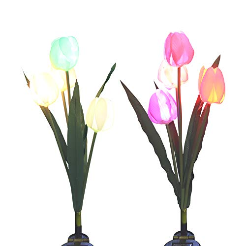Stake Lights, SOUBUN 2 Pack Waterproof Multi-Color Changing LED Solar Powered Decorative Lights with 8 Tulip Flower for Garden, Patio, Backyard (Pink and White) ()