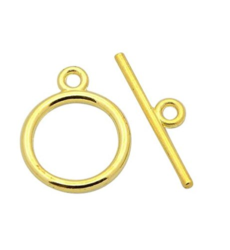 Gold Toggle - 10 Sets Top Quality Elegant Round Toggle Clasps | 14mm Gold Clasps 14k Gold Plated Clasp CF180
