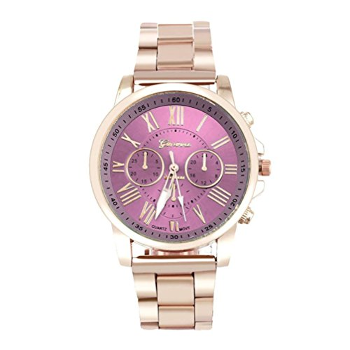 Red Dial Stainless (Han Shi Wristwatch, Unisex Roman Number Stainless Steel Quartz Sports Dial Watch Clock (A, Pink))