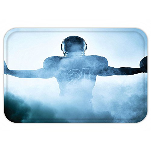 Heroic Animal (VROSELV Custom Door MatSportDecor Collection Heroic Shaped Rugby Player Silhouette Shadow Standing in Fog Playground Global SportPhoto Blue)