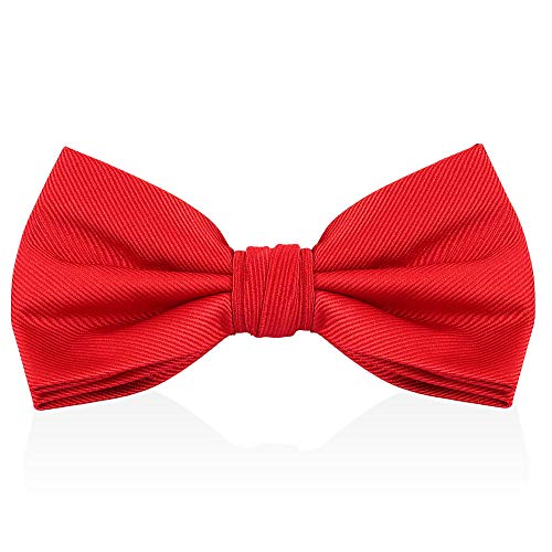 (Red Bow Ties For Men - Mens Woven Pre Tied Bowties For Men Bowtie Tuxedo Solid Color Formal Bow Tie)