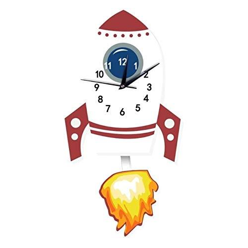 (LySanSan - Cartoon Animal Wall Clock American Fire Engine Slient Wall Hanging Clock for Children Kids Bedroom Decor Home Decoration)