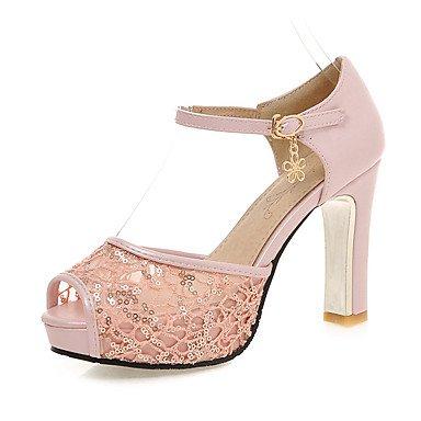 Sandalias Primavera Verano Otoño Zapatos Club Tulle Oficina & Carrera parte & traje de noche Chunky talón Sequin Negro Blanco Rosa Azul Blushing Pink