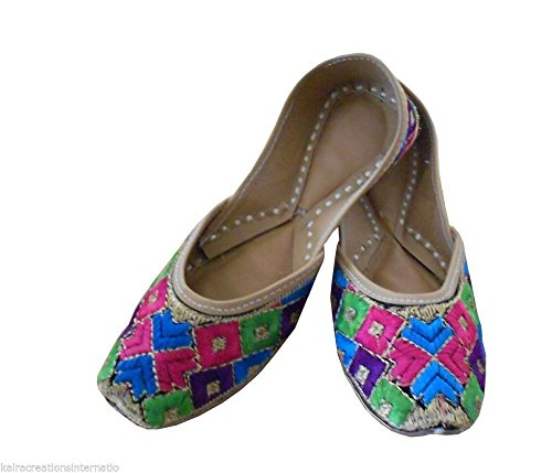 Kalra Creations Women's Traditional Faux Leather with Embroidery Indian Party Shoes Multicoloured XVrKUM