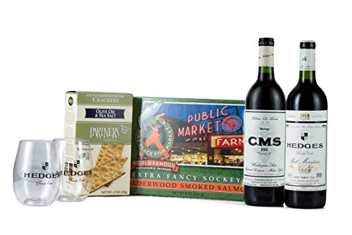Hedges Family Estate The Washington Reds Picnic Gift Set with Pike Place Smoked Salmon, Partners Crackers, 2 Go Vino glasses, 2 X 750 mL