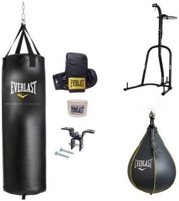 Everlast Dual Station Heavy Bag Stand Black 70 Lb Kit Speed Bag Boxing Nevatear