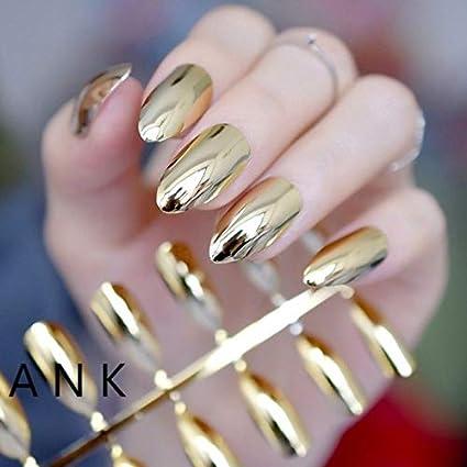 Espejo dorado Stiletto Clavos de tamaño mediano Punta de Almendra Forma Acabado Acrílico Uñas para Maquillaje