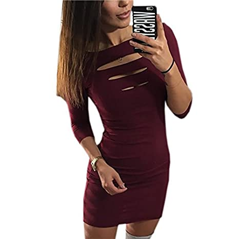 4c22551855928 Amazon.com  DHmart Summer Women Sexy Dress Sheath Package Hip Party Dress  2018 Three Quarter Sleeve Hollow Out Bodycon Mini Dresses Club Wear LX311   Kitchen ...