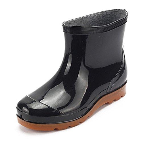fereshte Men's Womens PVC Knee High Waterproof Rain Winter Boots Slip On