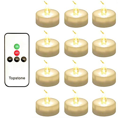Topstone LED Tea Light,Flameless Flickering Tealight with Remote Control,Long Lasting Battery Operated LED Tealights Candle with Timer,for Seasonal &Festival Celebration,Pack of 12(White) (Controlled Led Candles Remote)
