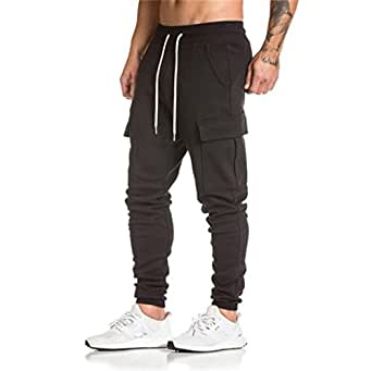 TOOPOOT Men Casual Sweatpants,Combat Cargo Work Trousers Jogger Sportswear Basic Casual Sportwear Jogging Outdoor Pants With Drawstring (Size: L, Black)