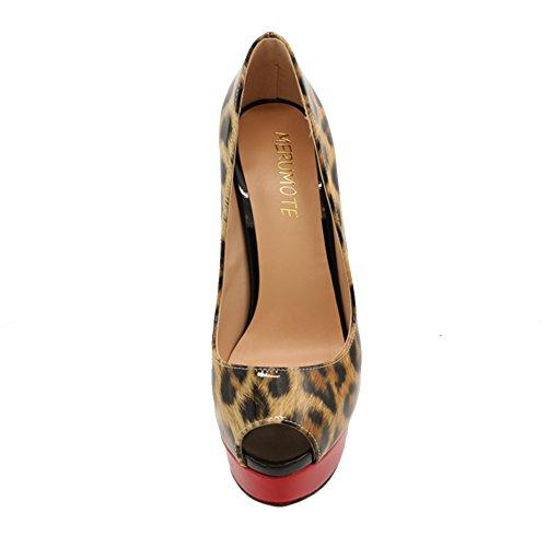 MERUMOTE - Zapatos de tacón de aguja mujer Multicolor - leopardo