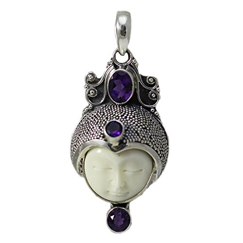 (Carved Bone Face with three Amethyst stones Pendant)