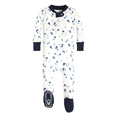 Burt's Bees Baby Boys Pajamas, Zip Front Non-Slip Footed Sleeper PJs, 100% Organic Cotton, Eggshell Scattered Glaciers, 0-3 Months ()