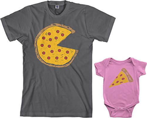 Threadrock Pizza Pie & Slice Infant Bodysuit & Men's T-Shirt Matching Set (Baby: 12M, Pink|Men's: L, Charcoal) (Best Man Suit Ideas)