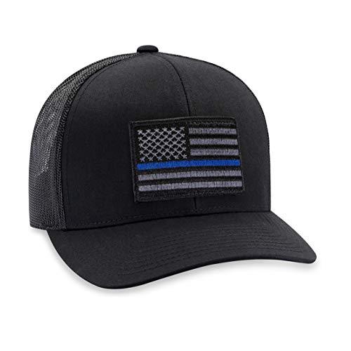 - Thin Blue Line Hat - Blue Line Trucker Hat Baseball Cap Snapback Golf Hat (Black)