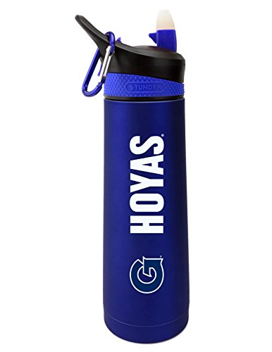 (The Fanatic Group Georgetown University Dual Walled Stainless Steel Sports Bottle, Design 2 - Blue)