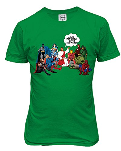 KING THREADS Jesus and Superheroes That's How I Saved The World Christian Funny Mens T-Shirt - Superhero Green T-shirt