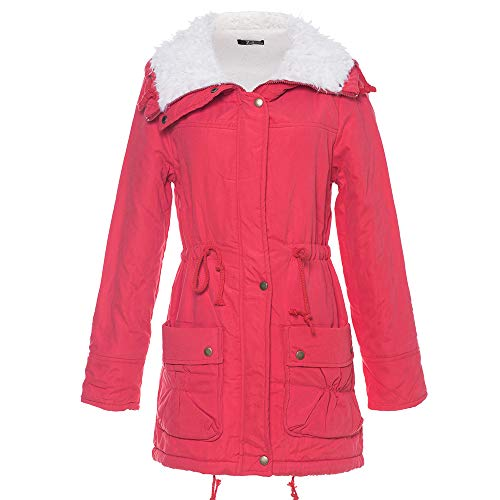 (BODOAO Womens Warm Long Coat Hooded Jacket Slim Winter Parka Fur Lining Coat)