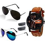Sheomy Stylish Sunglasses 3 Combo Set Of 3 Uv Protect Aviators Unisex Sunglasses & Goggles, (Silver Blue Mercury ,Full Black,Golden Brown)