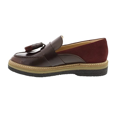 Clarks Zante Spring Leather Shoes In Burgundy Combi Standard Fit Size 8 FoRKcLaY