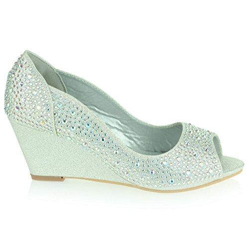 AARZ LONDON Frau Damen Diamant Abend Hochzeit Party Abschlussball Braut Mitten Keilabsatz Peep Toe Sandalen Schuhe Größe Silber