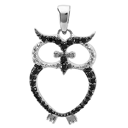 0.25 Carat (ctw) Sterling Silver Round Black Diamond Ladies Owl Pendant ()